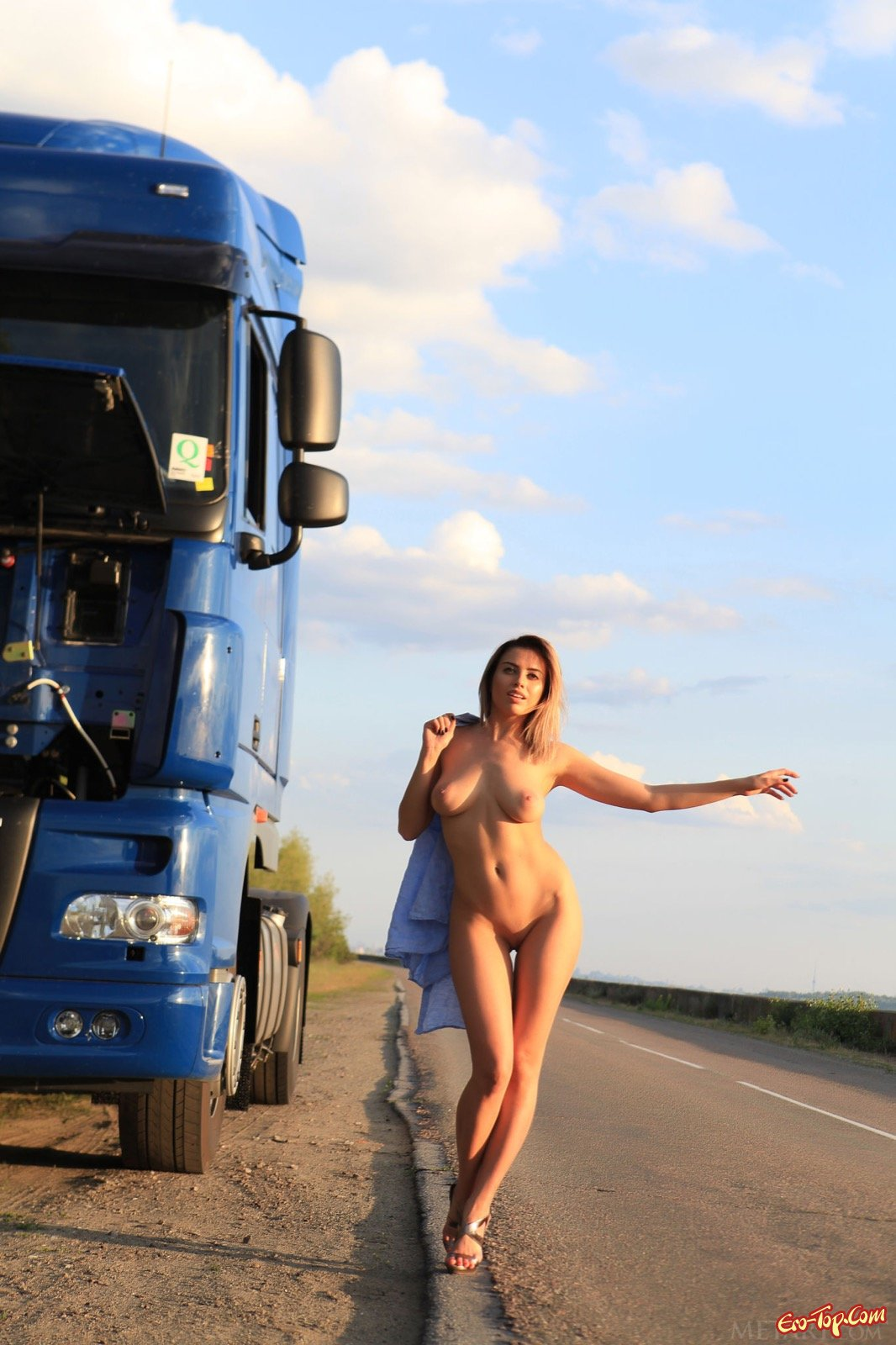 Picture of woman naked in truck