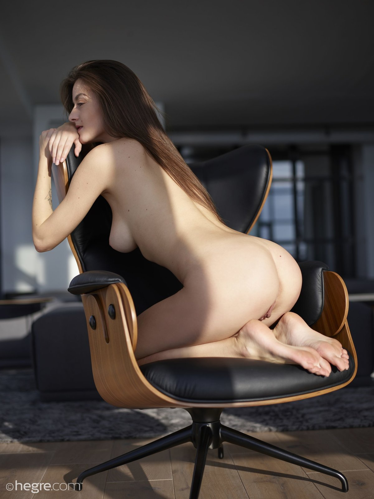 Nude woman on a chair, girls workout nude